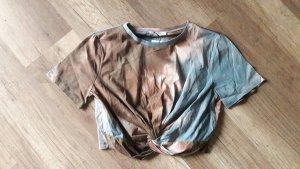 Zara Trf Shirt Crop Cropped Cropshirt Knoten Batik Dip Dye Hippie Boho L
