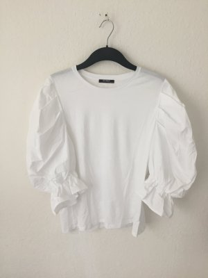 Zara Trf Shirt mit Puffärmeln Weiß