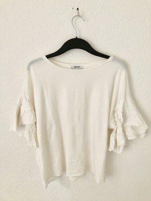 Zara Trf Shirt mit Volantärmeln Creme