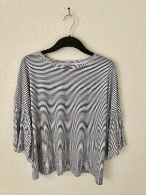 Zara Trf Shirt mit Volantärmeln gestreift