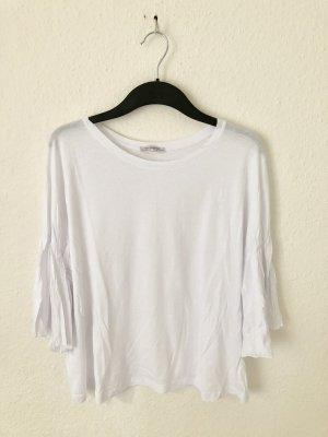 Zara Trf Shirt mit Volantärmeln Weiß