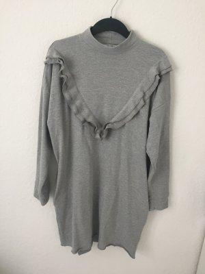 Zara Trf Sweatshirt Kleid mit Volants Grau