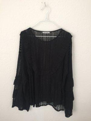Zara Trf transparentes Shirt mit Volants