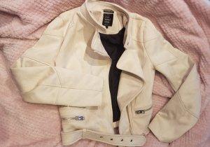 Zara TRF Wildleder Style Biker Jacke in creme XS