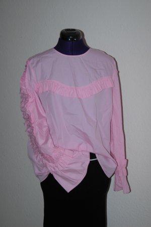 ZARA Tunika Bluse Rüschen Top rosa Gr.L NEU