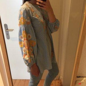 Zara Tunika Kleidchen Bluse mit Blumenstickerei