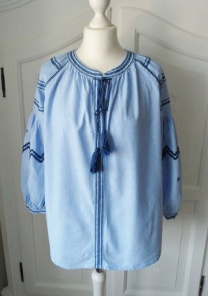 Zara Tunique-blouse bleu azur-bleu foncé tissu mixte