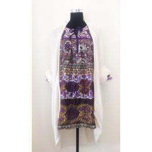 Zara Tunika Seide Kleid S M 36 38 40 im Hippie Flower Style Bunt Ethno Muster