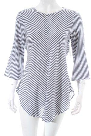 Zara Tunikabluse weiß-graublau Streifenmuster Casual-Look