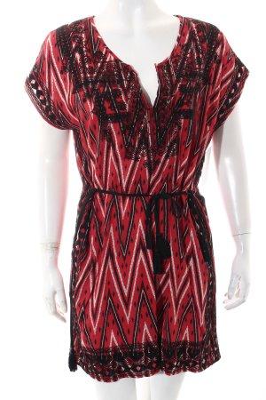 Zara Tunikakleid rot-schwarz Ikatmuster Ethno-Look