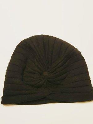 Zara Sombrero de tela negro tejido mezclado