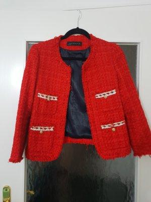 Zara tweed blazer Gr s neu rot blogger