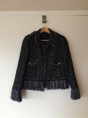 Zara Blazer en tweed bleu foncé tissu mixte