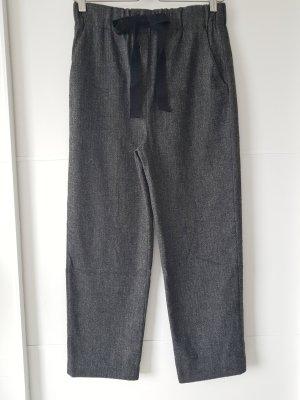 ZARA Tweed-Hose, Gr.XS, dunkelgrau, mit Bindeschleife, Fischgrät-Muster