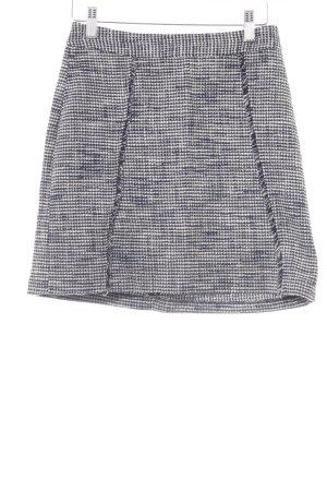 Zara Jupe en tweed bleu foncé-blanc cassé style décontracté
