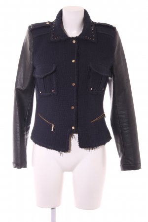 Zara Übergangsjacke dunkelblau-schwarz Street-Fashion-Look
