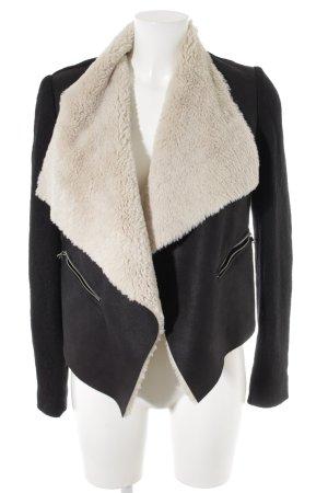 Zara Übergangsjacke schwarz-creme Casual-Look