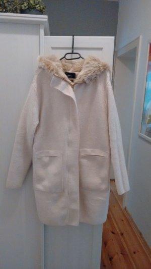 Zara Abrigo con capucha crema-blanco puro