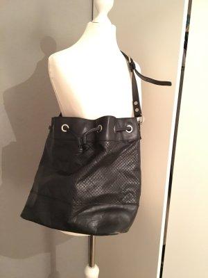 Zara umhänge beuteltasche in schwarz echt Leder