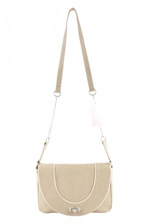 Zara Crossbody bag cream-silver-colored elegant