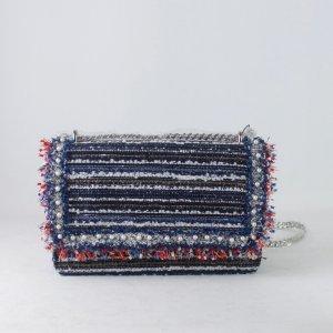 ZARA Umhängetasche blau weiß Glitzerfäden Franzen Perlen (18/10/365)