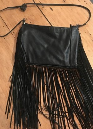 Zara Fringed Bag black leather
