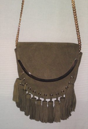 Zara Crossbody bag khaki suede