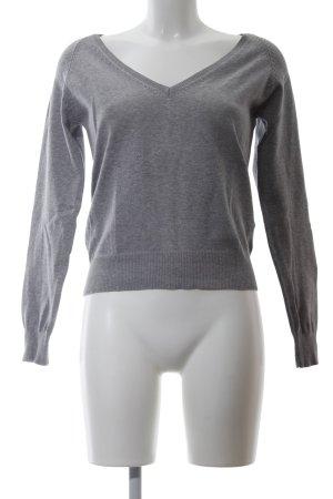 Zara V-Neck Sweater light grey flecked casual look