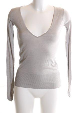 Zara Jersey con cuello de pico gris claro look casual
