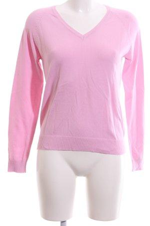 Zara Jersey con cuello de pico rosa look casual