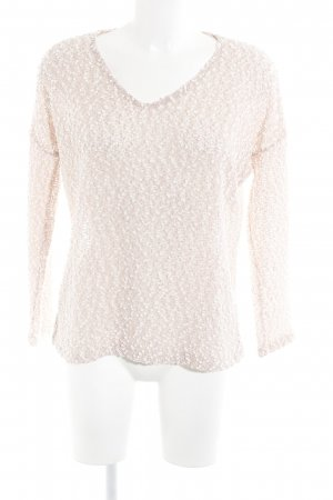Zara V-Neck Sweater dusky pink-natural white loosely knitted pattern casual look