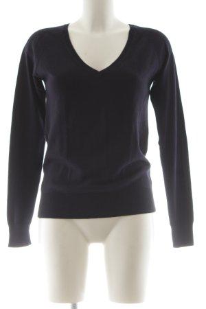 Zara V-Ausschnitt-Pullover schwarz klassischer Stil