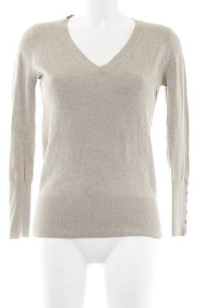 Zara V-Ausschnitt-Pullover beige College-Look