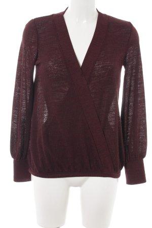 Zara V-Ausschnitt-Pullover braun-rot Casual-Look