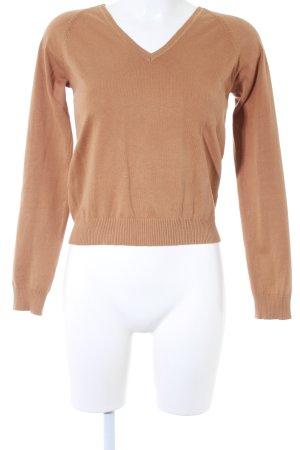 Zara V-Ausschnitt-Pullover camel schlichter Stil