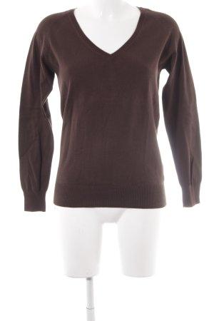 Zara V-Ausschnitt-Pullover dunkelbraun klassischer Stil