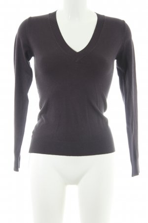 Zara V-Ausschnitt-Pullover dunkelgrau Casual-Look