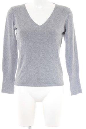 Zara V-Ausschnitt-Pullover grau Casual-Look