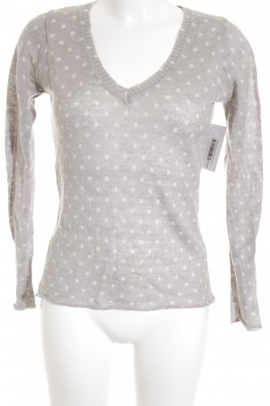 Zara V-Ausschnitt-Pullover graublau Punktemuster Casual-Look