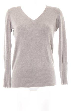 Zara V-Ausschnitt-Pullover graubraun Casual-Look