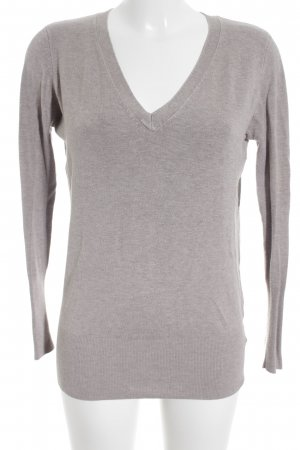 Zara V-Ausschnitt-Pullover hellbeige Casual-Look