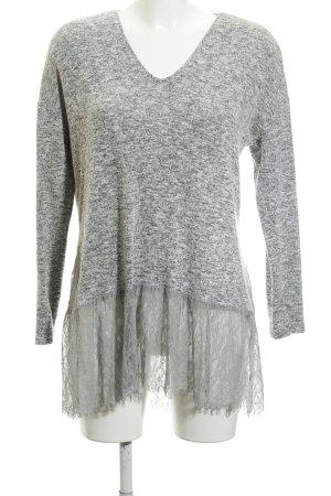 Zara V-Ausschnitt-Pullover hellgrau-grau meliert Casual-Look