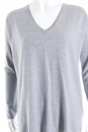 Zara V-Ausschnitt-Pullover hellgrau schlichter Stil