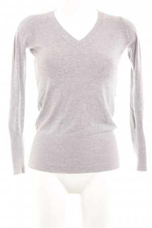 Zara V-Neck Sweater light grey simple style