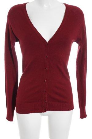 Zara V-Ausschnitt-Pullover karminrot Casual-Look