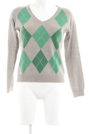 Zara V-Ausschnitt-Pullover Karomuster Casual-Look