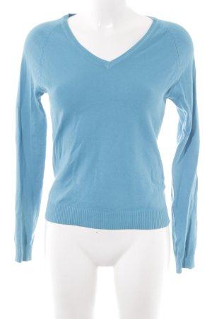 Zara V-Ausschnitt-Pullover neonblau Casual-Look