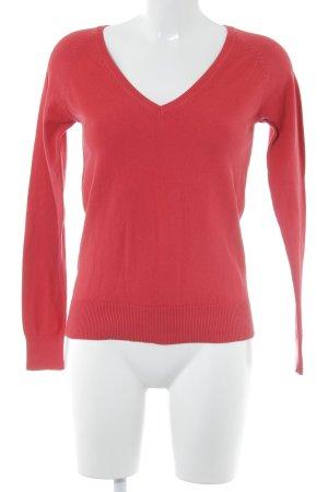Zara V-Ausschnitt-Pullover rot Webmuster Casual-Look