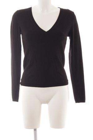 Zara Jersey con cuello de pico negro look casual