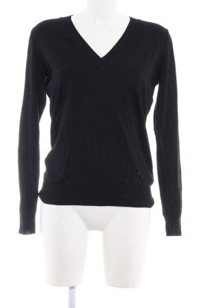 Zara V-Ausschnitt-Pullover schwarz schlichter Stil